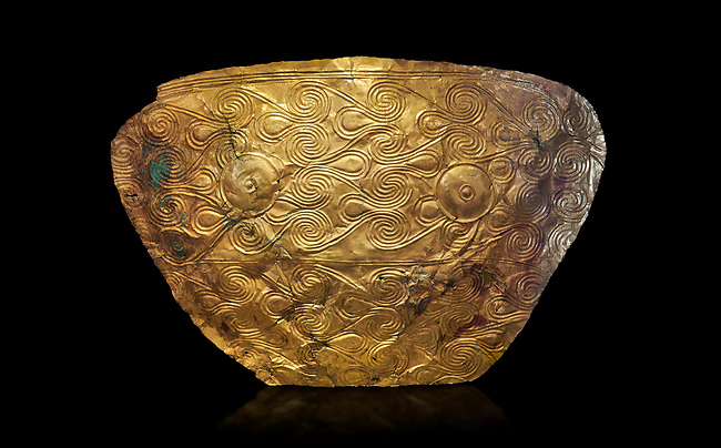 Mycenaean Gold breat plate from Grave IV, Grave Circle A, Myenae, Greece. National Archaeological Museum Athens. 16th Cent BC. Cat No 626, 625. Black Background