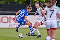 Chloe Vande Velde (10) of AA Gent nd Amber Tysiak (3) of OHL pictured during a female soccer game between AA Gent Ladies and Oud Heverlee Leuven on the fourth matchday of play off 1 in the 2020 - 2021 season of Belgian Scooore Womens Super League , saturday 1 st of May 2021  in Oostakker , Belgium . PHOTO SPORTPIX.BE | SPP | STIJN AUDOOREN