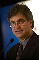 Montreal, Quebec, Canada.Nov 20, 2003,<br /> <br /> Jean-Marc Fournier, Quebec Minister  Leisure, Tourism and Municipal Affairs speak in front of the Montreal Board of Trade , November 20, 2003 <br /> <br /> Photo : Pierre Roussel