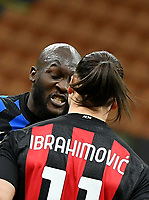 Football Soccer: Tim Cup Quarter Finals InternazionaleMIlan vs Milan, Giuseppe Meazza Stadium (San Siro) Milan, on January 26, 2021.<br /> Milan's Zlatan Ibrahimovic (r) and Inter's Milan's Romelu Lukaku (l) argue during the Italian Tim Cup football match between Inter  and Milan at the Giuseppe Meazza stadium in Milan, January 26, 2021.<br /> UPDATE IMAGES PRESS/Isabella Bonotto