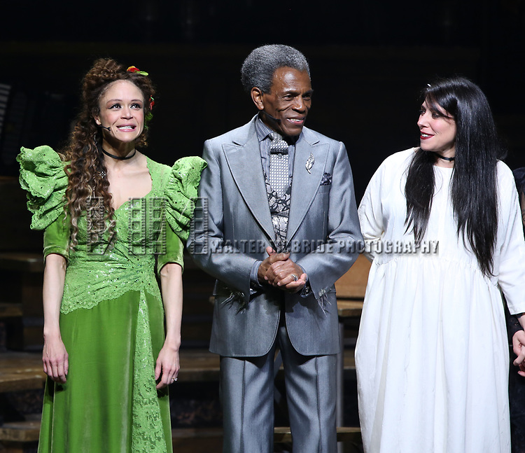 Amber Gray, Andre De Shields, Rachel Clavkin during Broadway Opening Night Performance Curtain Call for 'Hadestown' at the Walter Kerr Theatre on April 17, 2019 in New York City.