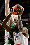 Real Madrid's player Othello Hunter and Unics Kazan's player Artsiom Parakhouski during match of Turkish Airlines Euroleague at Barclaycard Center in Madrid. November 24, Spain. 2016. (ALTERPHOTOS/BorjaB.Hojas)