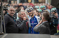 Tom Boonen's (BEL/Quick-Step Floors) last ever (farewell) race on Belgian soil starts in his hometown of Mol. When he mounts the sign-on stage the crowd roars him on.<br /> <br /> 105th Scheldeprijs 2017 (1.HC)<br /> 1 Day Race: Mol › Schoten (BEL/202km)