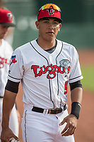 Lansing Lugnuts catcher Javier Hernandez (9) before the Midwest League baseball game against the Bowling Green Hot Rods on June 29, 2017 at Cooley Law School Stadium in Lansing, Michigan. Bowling Green defeated Lansing 11-9 in 10 innings. (Andrew Woolley/Four Seam Images)