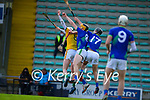 Patrick Conneely, Meath in action against Brendan O'Leary, Kerry, during the Round 1 meeting of Kerry and Meath in the Joe McDonagh Cup at Austin Stack Park in Tralee on Sunday.
