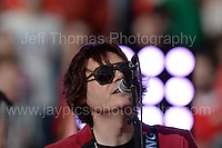 Nick Wire of the Manic Street Preachers perform during the homecoming celebrations at the Cardiff City stadium on Friday 8th July 2016 for the Euro 2016 Wales International football squad.<br /> <br /> <br /> Jeff Thomas Photography -  www.jaypics.photoshelter.com - <br /> e-mail swansea1001@hotmail.co.uk -<br /> Mob: 07837 386244 -