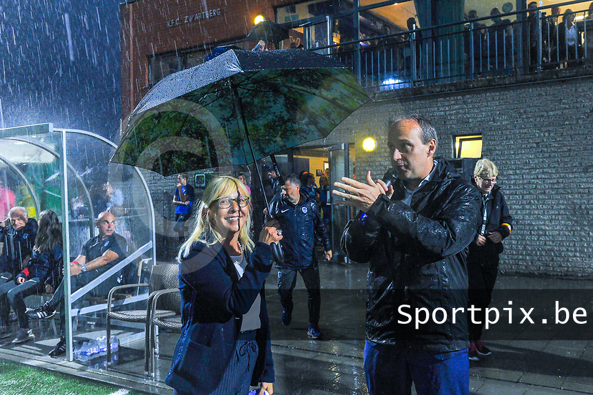 chairwoman Jacqueline Mahieux and mayor Wim Dries pictured before a female soccer game between  Racing Genk Ladies and Sporting du pays de Charleroi on the fourth matchday of the 2021-2022 season of the Belgian Scooore Womens Super League , friday 10 September 2021  in Genk , Belgium . PHOTO SPORTPIX | STIJN AUDOOREN