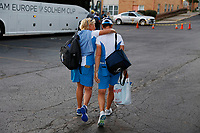 6th September 2021: Toledo, Ohio, USA;  From left to right vice captain Kathryn Imrie and captain Catriona Matthew of Team Europe hug as they walk to the team bus after winning the Solheim Cup on September 6, 2021 at Inverness Club in Toledo, Ohio.