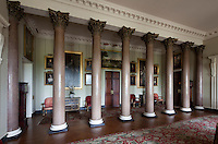A row of granite columns in the entrance hall