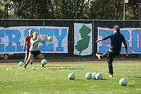 Piscataway, NJ, April 24, 2016.  Goalkeeper coach and former Sky Blue player, Jill Loyden, puts the Sky Blue goalkeepers Caroline Casey and Caroline Stanley through their pre-game warmups.  The Washington Spirit defeated Sky Blue FC 2-1 during a National Women's Soccer League (NWSL) match at Yurcak Field.