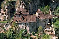 Europe/France/Midi-Pyrénées/46/Lot/Rocamadour: Détail des maisons quercynoises du bas du village
