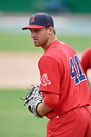 Salem Red Sox pitcher Trevor Kelley (41) during practice before the first game of a doubleheader against the Potomac Nationals on May 13, 2017 at G. Richard Pfitzner Stadium in Woodbridge, Virginia.  Potomac defeated Salem 6-0.  (Mike Janes/Four Seam Images)
