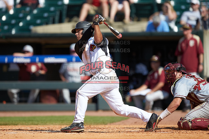 Pat Rumoro (18) of the Louisville Cardinals follows through on his swing against the Florida State Seminoles in Game Eleven of the 2017 ACC Baseball Championship at Louisville Slugger Field on May 26, 2017 in Louisville, Kentucky. The Seminoles defeated the Cardinals 6-2. (Brian Westerholt/Four Seam Images)
