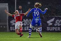 Standard defender Elien Nelissen (15) and Gent's forward Lobke Loonen (19) pictured during a female soccer game between  AA Gent Ladies and Standard Femina de Liege on the 8 th matchday of the 2020 - 2021 season of Belgian Scooore Womens Super League , friday 20 th of November 2020  in Oostakker , Belgium . PHOTO SPORTPIX.BE | SPP | STIJN AUDOOREN