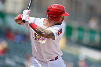 Memphis Redbirds first baseman Rangel Ravelo (4) at bat during a game against the Iowa Cubs on May 29, 2017 at AutoZone Park in Memphis, Tennessee.  Memphis defeated Iowa 6-5.  (Mike Janes/Four Seam Images)