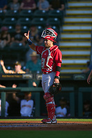 Palm Beach Cardinals catcher Carlos Soto (35) signals one out during a game against the Bradenton Marauders on May 29, 2021 at LECOM Park in Bradenton, Florida.  (Mike Janes/Four Seam Images)