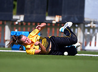 Wellington's Beth Moloney stops a ball on the boundary during the Hallyburton Johnstone Shield women's cricket match between Wellington Blaze and Otago Sparks at the Basin Reserve in Wellington, New Zealand on Sunday, 14 March 2021. Photo: Dave Lintott / lintottphoto.co.nz
