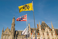 Belgium, Bruges, Provincial Palace with flags of Flanders and Bruges