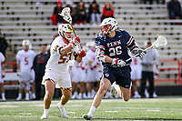 College Park, MD - February 15, 2020: Penn Quakers midfielder Sam Handley (26) tries to shoot the ball during the game between Penn and Maryland at  Capital One Field at Maryland Stadium in College Park, MD.  (Photo by Elliott Brown/Media Images International)