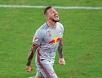 WASHINGTON, DC - SEPTEMBER 12: Daniel Royer #77 of the New York Red Bulls celebrates his goal during a game between New York Red Bulls and D.C. United at Audi Field on September 12, 2020 in Washington, DC.