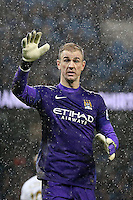 Joe Hart appeals for the ball during the Barclays Premier League Match between Manchester City and Swansea City played at the Etihad Stadium, Manchester on 12th December 2015