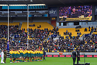 Stephanie Paris sings the Australian national anthem during the Bledisloe Cup rugby union match between the New Zealand All Blacks and Australia Wallabies at Sky Stadium in Wellington, New Zealand on Sunday, 11 October 2020. Photo: Dave Lintott / lintottphoto.co.nz