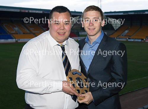 St Johnstone Player of the Year Awards...04.05.13.Barossa Street Supporters Club Young Player of the Year Award went to Liam Caddis presented by Dan Shek..Picture by Graeme Hart..Copyright Perthshire Picture Agency.Tel: 01738 623350  Mobile: 07990 594431