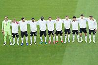 Deutsche Mannschaft bei der Hymne<br /> - Muenchen 19.06.2021: Deutschland vs. Portugal, Allianz Arena Muenchen, Euro2020, emonline, emspor, <br /> <br /> Foto: Marc Schueler/Sportpics.de<br /> Nur für journalistische Zwecke. Only for editorial use. (DFL/DFB REGULATIONS PROHIBIT ANY USE OF PHOTOGRAPHS as IMAGE SEQUENCES and/or QUASI-VIDEO)