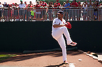 Jaime Garcia (39) of the St. Louis Cardinals warms up in the bullpen prior to a rehab game with the Springfield Cardinals against the Tulsa Drillers at Hammons Field on May 4, 2014 in Springfield, Missouri. (David Welker/Four Seam Images)