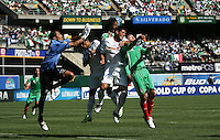 Carlos Mendieta (12) tries to get to the ball among Mexico and Nicaragua players. Mexico defeated Nicaragua 2-0 during the First Round of the 2009 CONCACAF Gold Cup at the Oakland Coliseum in Oakland, California on July 5, 2009.