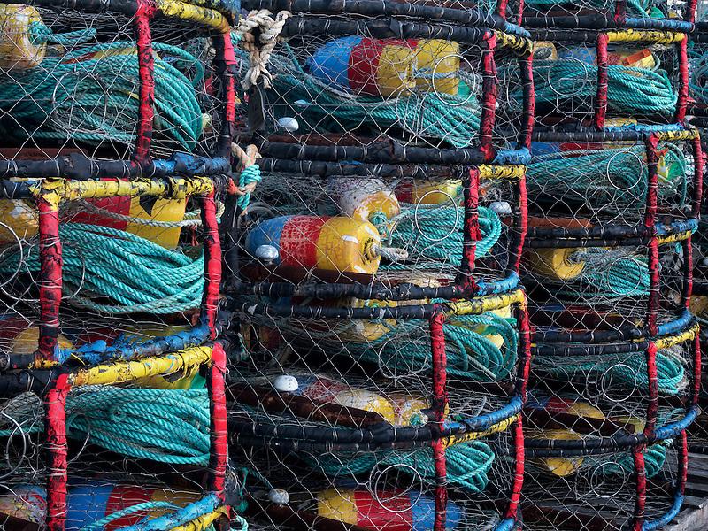 Crab pots  at Newport Harbor on the Yaquina River, Oregon