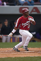 DeAngelo Mack (17) follows through on his swing versus the East Carolina Pirates at Sarge Frye Field in Columbia, SC, Sunday, February 24, 2008.