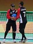 Bruno Hache and Doug Ripley, Rio 2016 - Goalball.<br /> Team Canada plays Brazil in the men's goalball // Équipe Canada affronte le Brésil au goalball masculin. 09/09/2016.