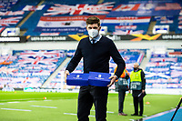 29th October 2020, Ibrox Stadium, Glasgow, Scotland; UEFA Europa League football, group stages; Glasgow Rangers versus Lech Poznan;   Rangers manager brings 2 boxes to the dugout
