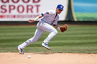 South Bend Cubs shortstop Andy Weber (24) on defense against the Lake County Captains on May 30, 2019 at Four Winds Field in South Bend, Indiana. The Captains defeated the Cubs 5-1.  (Andrew Woolley/Four Seam Images)
