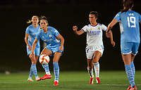 31st August 2021; Estadio Afredo Di Stefano, Madrid, Spain; Women's Champions League, Real Madrid CF versus Manchester City Football Club; Vicky Losada (Manchester City) plays the ball away from Nahikari (Real Madrid)