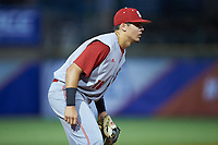Evan Mendoza (18) of the North Carolina State Wolfpack on defense against the North Carolina Tar Heels in Game Twelve of the 2017 ACC Baseball Championship at Louisville Slugger Field on May 26, 2017 in Louisville, Kentucky. The Tar Heels defeated the Wolfpack 12-4. (Brian Westerholt/Four Seam Images)