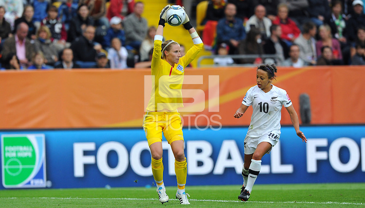 Goalkeeper Karen Bardsley (l) of team England during the FIFA Women's World Cup at the FIFA Stadium in Dresden, Germany on July 1st, 2011.