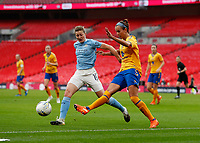 1st November 2020; Wembley Stadium, London, England; Womens FA Cup Final Football, Everton Womens versus Manchester City Womens; Ellen White of Manchester City Women challenges Rikke Sevecke of Everton Women