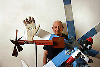Realist painter PHILIP PEARLSTEIN in his studio.  He specializes in nudes which he portrays with his collectibles.  361 W. 36 St., NYC.  Newsday/ARI MINTZ  10/30/2007.
