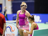 Rotterdam,Netherlands, December 15, 2015,  Topsport Centrum, Lotto NK Tennis, Womans doubles: Nikki Luttikhuis (L) and Erika Vogelsang (NED)<br /> Photo: Tennisimages/Henk Koster