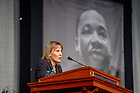 January 21, 2019; Emcee Laura Carlson, dean of the Graduate School, welcomes guests to the 2019 Martin Luther King Jr. Celebration Luncheon. (Photo by Matt Cashore/University of Notre Dame)