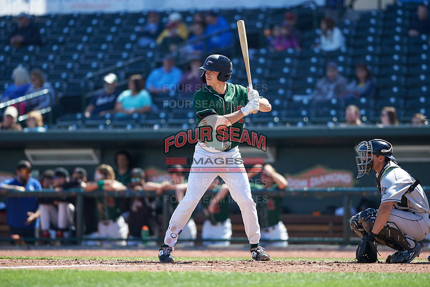 Great Lakes Loons Hunter Feduccia (7) at bat during a Midwest League game against the Wisconsin Timber Rattlers at Dow Diamond on May 4, 2019 in Midland, Michigan. Great Lakes defeated Wisconsin 5-1. (Zachary Lucy/Four Seam Images)