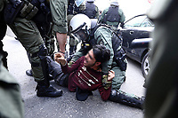 Pictured: A protester is arrested by police officers in Athens, Greece. Saturday 15 May 2021<br /> Re: Palestinian people living in Greece, joined by local supporters protesting against Israel, have clashed with police in central Athens, Greece.
