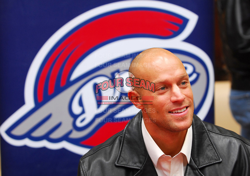 2 February 2007:  Former Boston Red Sox outfielder Gabe Kapler was introduced as the new manager of the Greenville Drive Saturday at Haywood Mall in Greenville, S.C. Kapler, 31, retired from the major leagues after the 2006 season and will manage Boston's Class A South Atlantic League affiliate. Photo by:  Tom Priddy/Four Seam Images