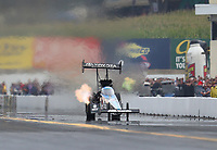 Sep 14, 2019; Mohnton, PA, USA; NHRA top fuel driver Antron Brown during qualifying for the Reading Nationals at Maple Grove Raceway. Mandatory Credit: Mark J. Rebilas-USA TODAY Sports