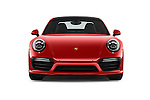 Car photography straight front view of a 2018 Porsche 911 Turbo 2 Door Coupe Front View