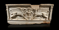 Roman relief sculpted sarcophagus of Achilles from Attica. This side shows two griffin and  bears characteristics of the Late Antonines Period of the Roman Imperial Period between 170-190 AD. Adana Archaeology Museum, Turkey. Against a black background