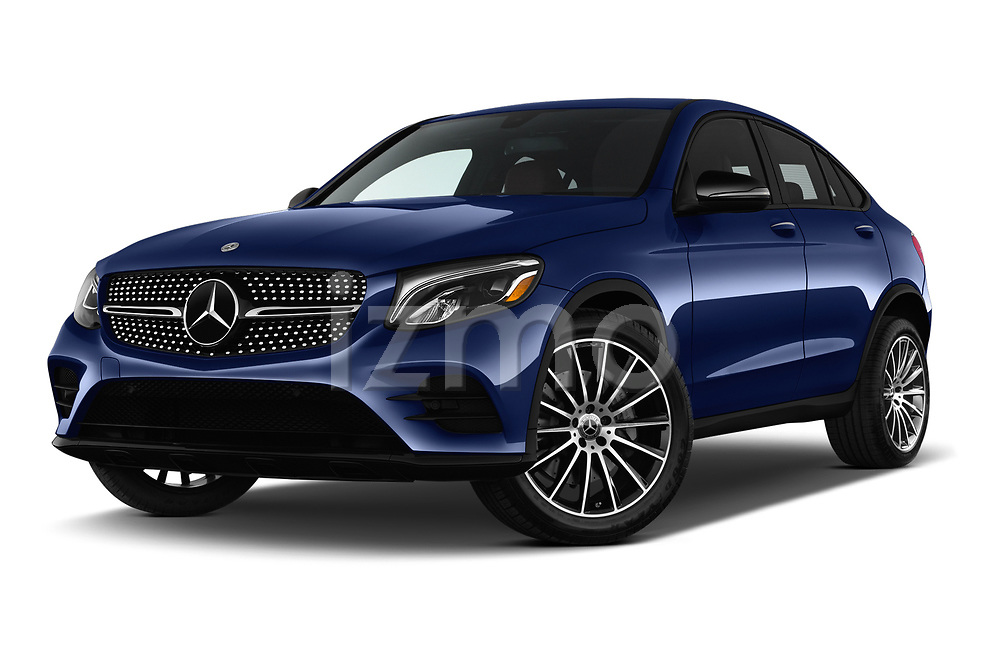 Stock pictures of low aggressive front three quarter view of a 2018 Mercedes Benz GLC Coupe GLC300 4WD 5 Door SUV