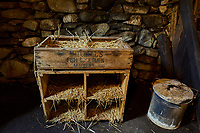 Hen coupe in the store room  of The Blackhouse, 24 Arnol, Bragar, Isle of Lewis, Scotland.